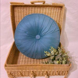 Turquoise Tufted Round Throw Pillow